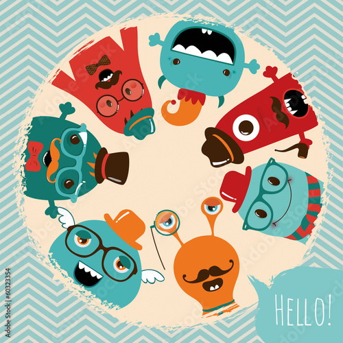 Hipster Retro Monsters Card Design