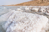 Detail of salt on the Dead Sea shore, Jordan
