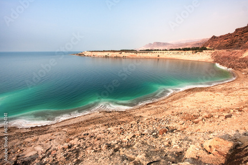 Overview of the Dead Sea shore from Jordan side