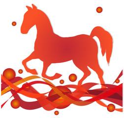 sihouette di cavallo su sfondo astratto