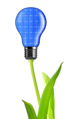 eco energy bulb from solar panels isolated on white