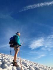alpinist on glacier