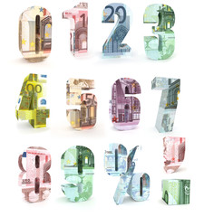 Numbers  made from euro  banknotes on white background