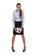 Stylish girl with a soccer ball