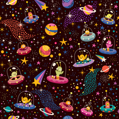 cute aliens pattern