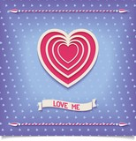 Beautiful retro heart with pattern and decorative ribbon