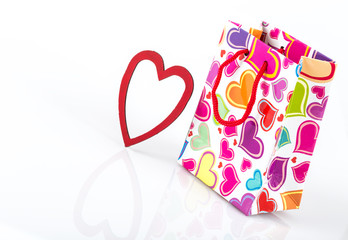 shopping bag and heart frame for valentine