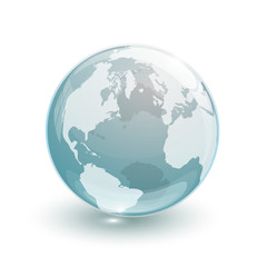glass globe earth map 3d blue
