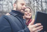 couple in love selfie poster