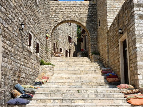 "stair and stone arc of the Venice Palace in ""Stari Grad"" Ulcinj Old Town"