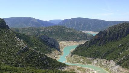 Panorama landscape of river Noguera Ribagorçana