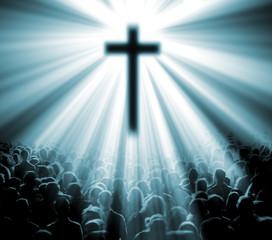 ilustracion con cruz y fieles. Iglesia Cristiana.
