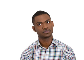 headshot angry annoyed handsome young man on white background