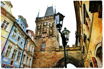 old streets of old Prague - artistic picture
