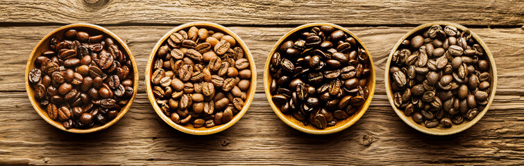 Selection of different roasted coffee beans