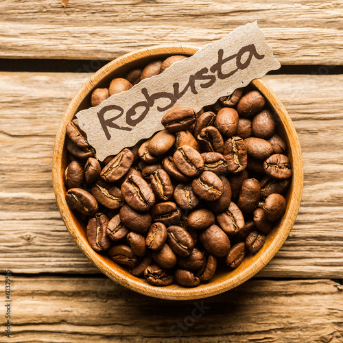 Close up of a bowl of Robusta coffee beans