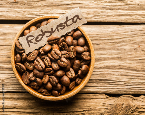 Bowl of Robusta coffee beans