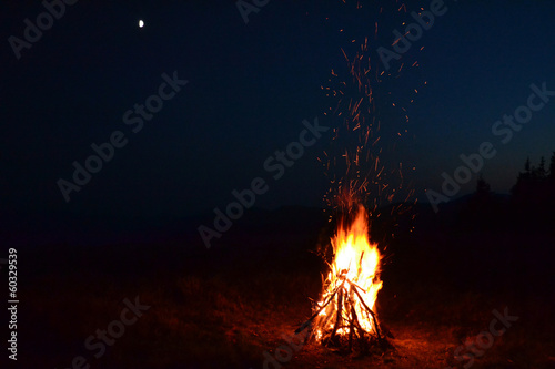 Aluminium Ontspanning background of a night fire
