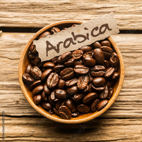 Close up of a bowl of Arabica coffee beans