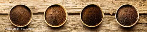 Varieties of freshly ground coffee powder