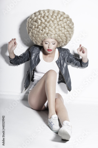 Eccentric Blonde Hair Model with Fantastic Updo Coiffure