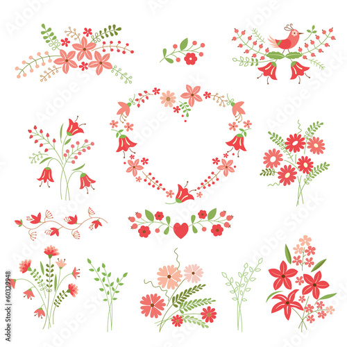 Set of flower design elements
