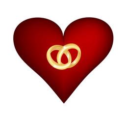 Herz mit Eheringen