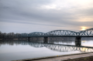 Old metal bridge over the Vistula. Torun, Poland
