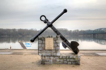 Anchor monument at the embankment of Vistula. Torun, Poland