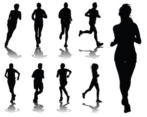Silhouettes with shadows of running , vector