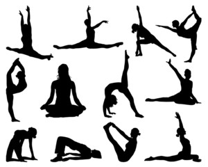 Big set of yoga silhouettes, vector