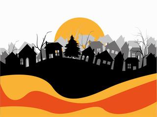 silhouette di case su sfondo astratto
