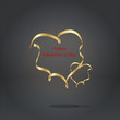 Valentine`s card with a gold ribbon heart