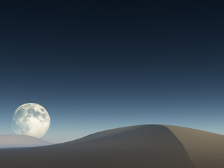 Moon over sand drifts