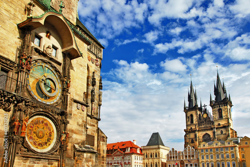 Canvas Praag Prague, Czech Republic - view of square and astronomical clock
