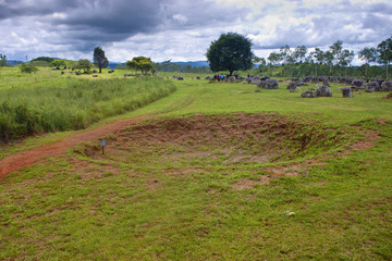 Bomb crater at Plain of Jars, Phonsavan, Laos.