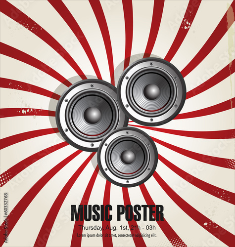 Speaker retro design background illustration