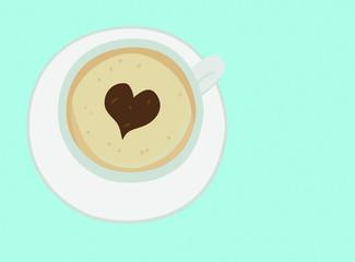 Kaffee Milchschaum mit Herz coffee frothy milk and heart