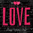 valentines day greeting card with  red  wishes text,  vector