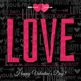 Fototapety valentines day greeting card with  red  wishes text,  vector