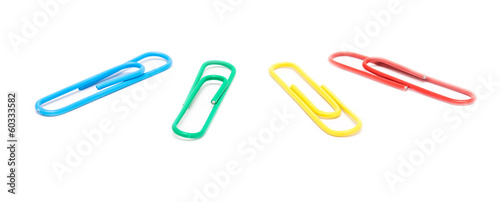 Assorted Paper Clips Isolated On White