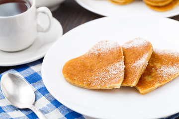 Heart shape pancakes