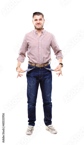Young man with empty pockets