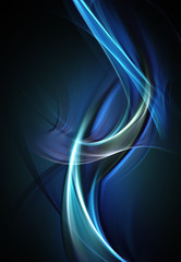 Abstract bright light blue waves on dark background