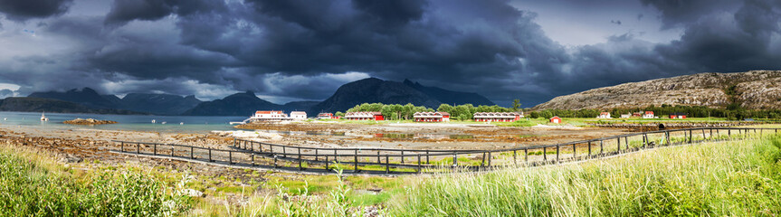 Panoramic shot of the village Tarnvika in Northern Norway during