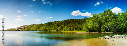 Panoramic long exposure shot of a lake in Northern Norway