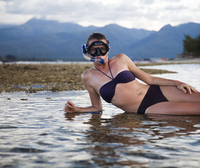 Island woman and diving