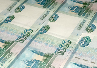 Ruble banknotes as background