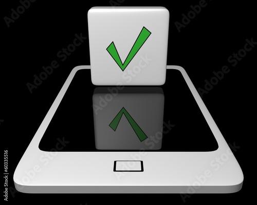 Leinwanddruck Bild White mobile phone with agreement icon