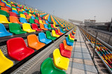 Seats for spectators for racing cars.